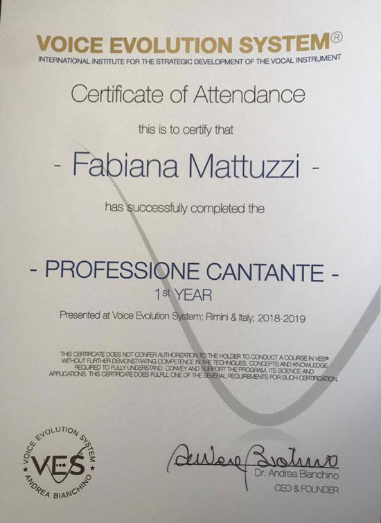 certificato VES Voice Evolution System professione cantante Rimini 1°anno