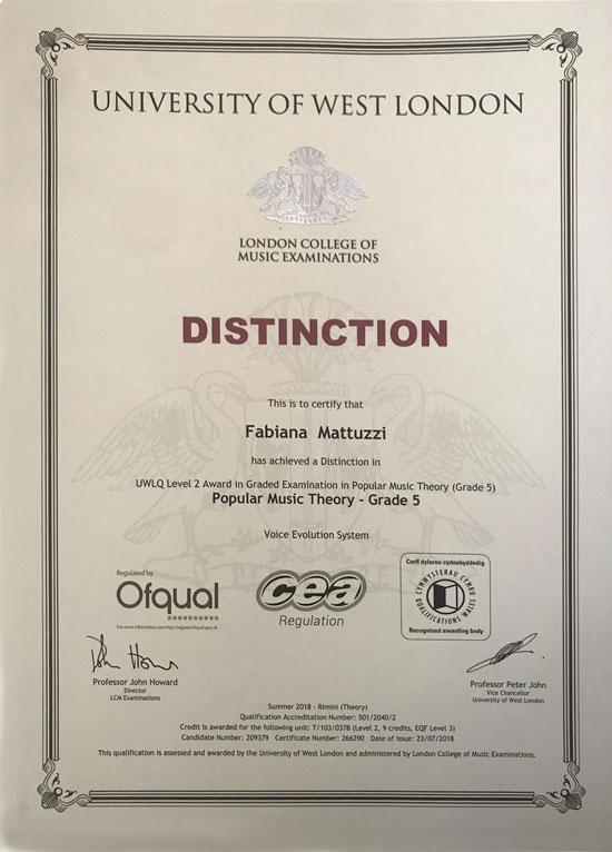 London music diploma University of. West London Fabiana Mattuzzi